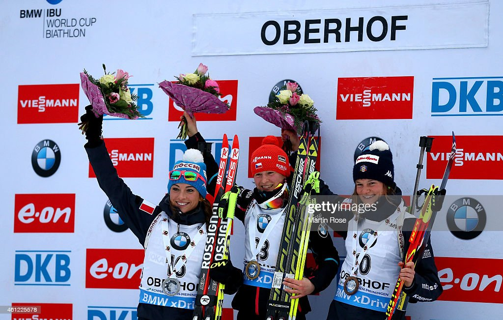Veronika Vitkova (C) of Czech Republic poses on the podium with second placed <a gi-track='captionPersonalityLinkClicked' href=/galleries/search?phrase=Dorothea+Wierer&family=editorial&specificpeople=7438920 ng-click='$event.stopPropagation()'>Dorothea Wierer</a> (L) of Italy and third placed <a gi-track='captionPersonalityLinkClicked' href=/galleries/search?phrase=Nicole+Gontier&family=editorial&specificpeople=10307657 ng-click='$event.stopPropagation()'>Nicole Gontier</a> of Italy after the Women's 7.5 km sprint of the BMW World Cup on January 9, 2015 in Oberhof, Germany.