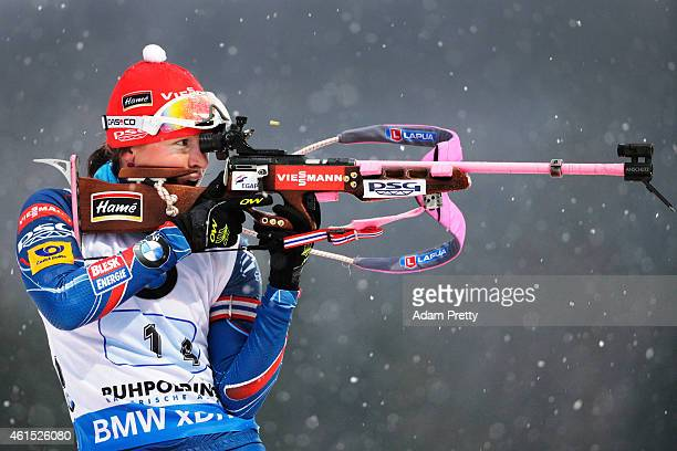 Veronika Vitkova of the Czech Rebublic shoots during the IBU Biathlon World Cup Women's Relay on January 14 2015 in Ruhpolding Germany