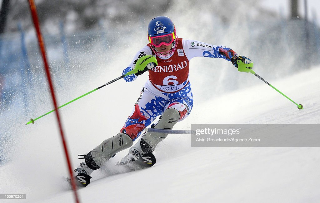 <a gi-track='captionPersonalityLinkClicked' href=/galleries/search?phrase=Veronika+Zuzulova&family=editorial&specificpeople=722650 ng-click='$event.stopPropagation()'>Veronika Zuzulova</a> of Slovakia competes during the Audi FIS Alpine Ski World Cup Women's Slalom on November 10, 2012 in Levi, Finland.