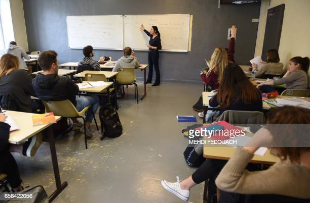 Veronique Blanc a mathematics teacher gives a lesson in Le Mirail High School in Bordeaux southwestern France on March 20 2017 This nonstandard high...