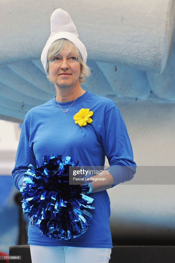 Veronique Culliford, the daughter of creator of The Smurfs, cartoonist Peyo, attends a ceremony as part as Global Smurfs Day celebrations on June 22, 2013 in Brussels, Belgium.