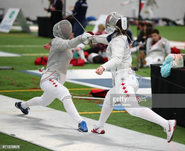 Veronique Lamarre fences Marissa Ponich in the Senior Women's Sabre event on April 21 2017 at the Canadian National Fencing Championships at the...