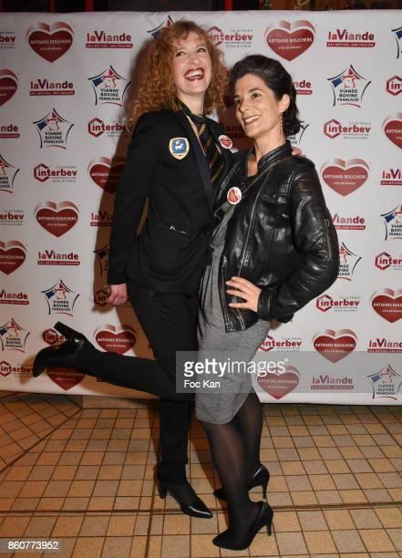 Veronique Langlais and Olivia Polski attend the 'Boeuf A la Mode' Dinner Hosted by Les Artisans Bouchers de Paris et Ile De France at Le Louchebem on...