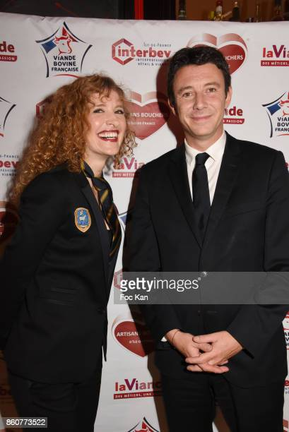 Veronique Langlais Presidente syndicat Federation de la Boucherie and Benjamin Griveaux from LREM attend the 'Boeuf A la Mode' Dinner Hosted by Les...