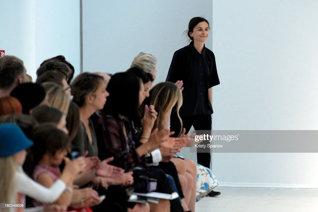 Veronique Leroy acknowledge the audience during the Veronique Leroy show as part of Paris Fashion Week Womenswear Spring/Summer 2014 on September 28, 2013 in Paris, France.