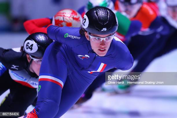 Veronique Pierron of France competes in the Ladies 1500m race during day one of ISU World Short Track Championships at Rotterdam Ahoy Arena on March...