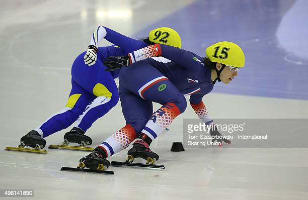 Veronique Pierron of France competes on Day 1 of the ISU World Cup Short Track Speed Skating competition at MasterCard Centre on November 7 2015 in...