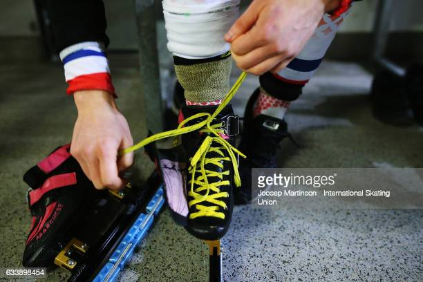 Veronique Pierron of France prepares hes skates during day two of the ISU World Cup Short Track at EnergieVerbund Arena on February 5 2017 in Dresden...