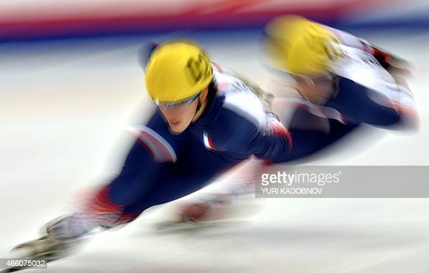 Veronique Pierron of France warms up before the women's 1000m heat race of the ISU World Short Track Speed Skating Championships in Moscow on March...