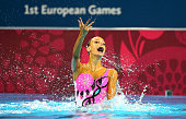 Veronka Szabo of Hungary competes in the Synchronised Swimming Solo Free Routine Preliminaries during day one of the Baku 2015 European Games at Baku...
