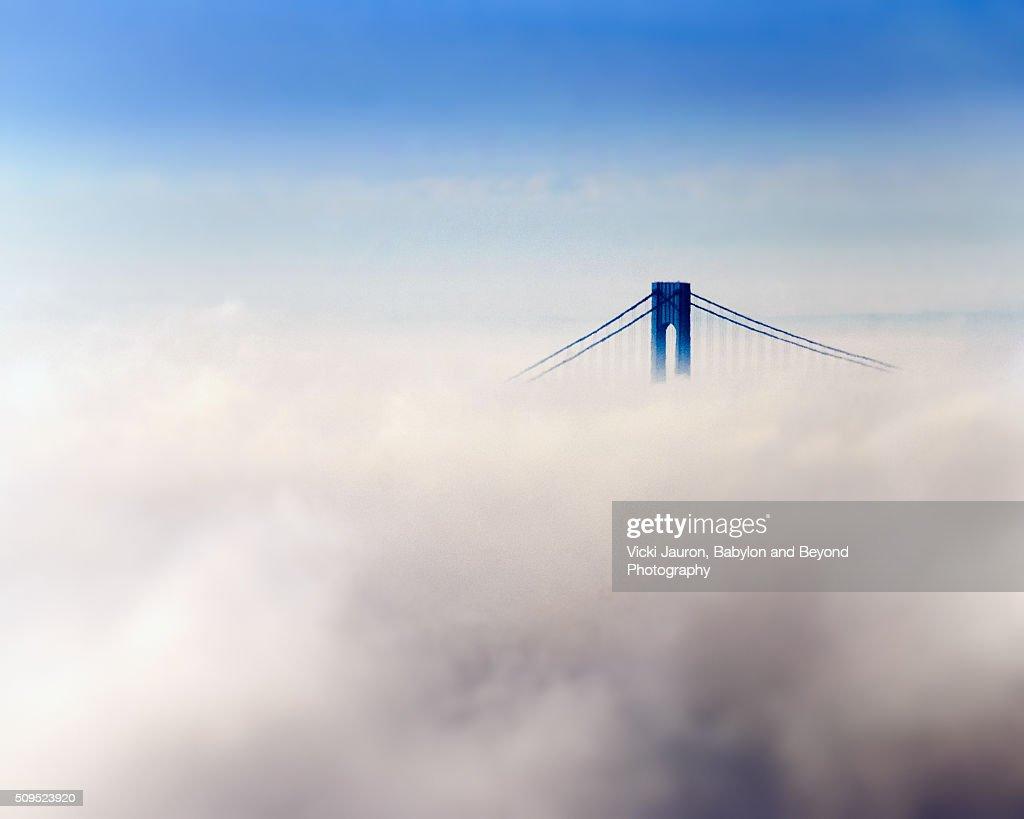 Verrazano Bridge Peaking Out Through the Clouds