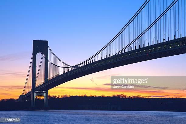 Verrazano-Narrows Bridge at sunset