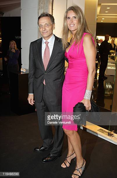 Versace Group CEO Giancarlo Di Risio and Tiziana Rocca attend the Versace Flagship Boutique opening in Via Veneto on October 29 2008 in Rome Italy