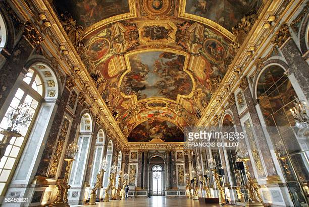 View of the restored paintings of the Hall of Mirrors 19 December 2005 at Versailles palace on its unveiling day Only 40 % of the art pieces have...