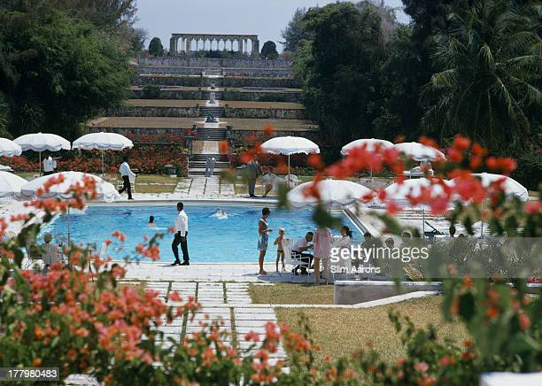 Versailles Gardens at the Ocean Club Nassau with terraced steps leading from a swimming pool to 14th century French cloisters May 1968 A Wonderful...