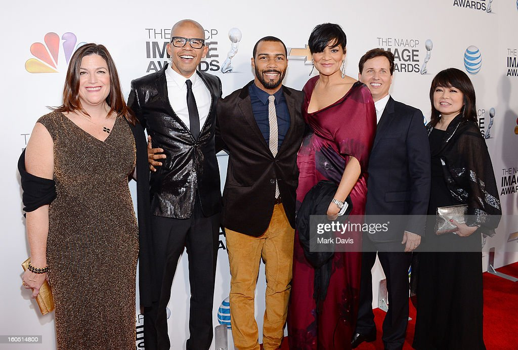 Verses & Flow's Mary Jane Kroll, Aaron Walton, Omari Hardwick, Ayiko Broyard, Andrew Logan, and Mariko Kusumoto attend the 44th NAACP Image Awards at The Shrine Auditorium on February 1, 2013 in Los Angeles, California.
