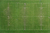 Vertical aerial view of football pitches
