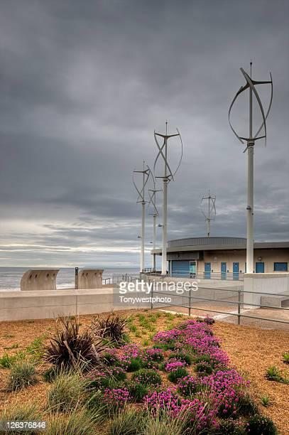 Vertical axis turbines powering public convenience block, Cleveleys, Fyldecoast, Lancashire, UK