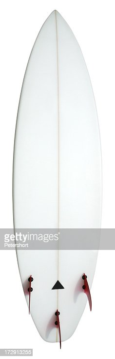 Vertical display of a white surfboard showing its underside