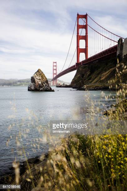 Vertical Golden Gate Bridge California Stock Photo