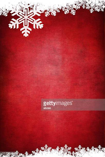 Vertical Grungey red background with white snowflake border