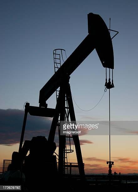 Vertical Pumpjack Silhouette in Alberta Canada Oil Industry