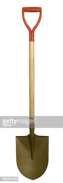 A vertical shovel on a white background