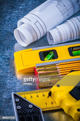 Vertical version of house-improvement working tools on metallic : Stock Photo