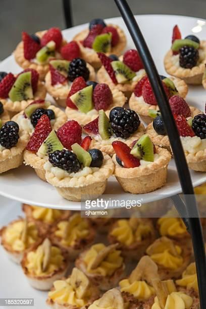 Vertically Stacked Dessert Trays, Fruit Tarts, Banana Cream