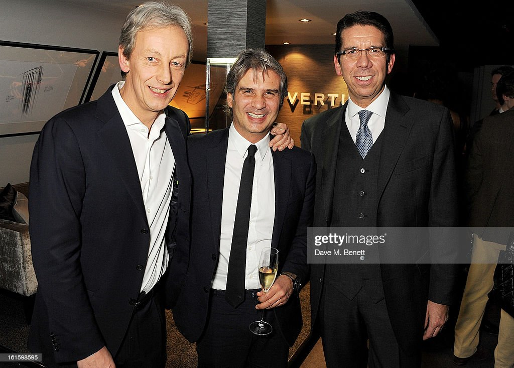 Vertu CEO Perry Oosting, Alessandro Fabrini and Vertu CMO Massimiliano Pogliani attend the launch of the Vertu Ti at the London Film Museum, Covent Garden on February 12, 2013 in London, England.