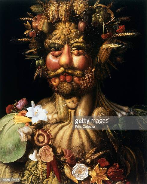 'Vertumnus Rudolf II' c1590 Rudolph II Holy Roman Emperor from 1576 as Vertumnus ancient Roman god of seasons who presided over gardens and orchards...
