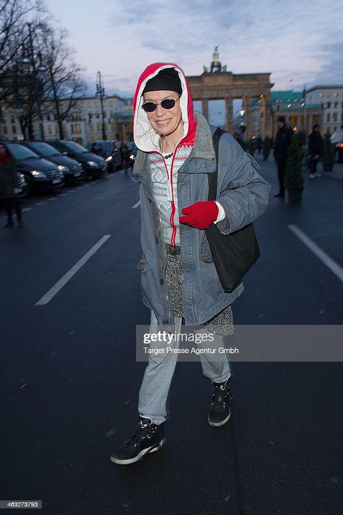 Veruschka Graefin von Lehndorff arrives to the Irene Luft show during Mercedes-Benz Fashion Week Autumn/Winter 2014/15 at Brandenburg Gate on January 17, 2014 in Berlin, Germany.