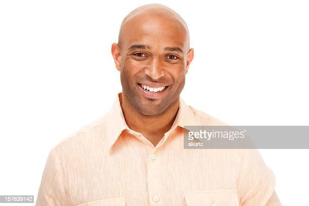 Très bel adulte africain-américain Homme d'affaires souriant, isolé