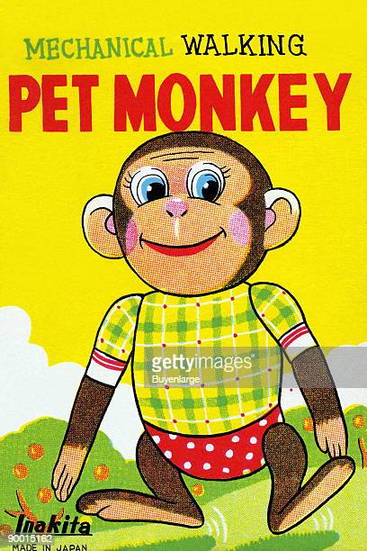 A very happy and fully dressed chimpanzee walks upright Children who bought this vintage toy could pretend they had a put monkey that would walk...