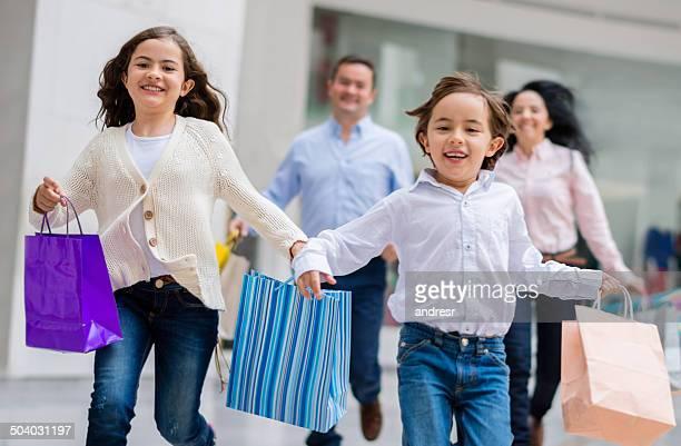 Very happy family shopping