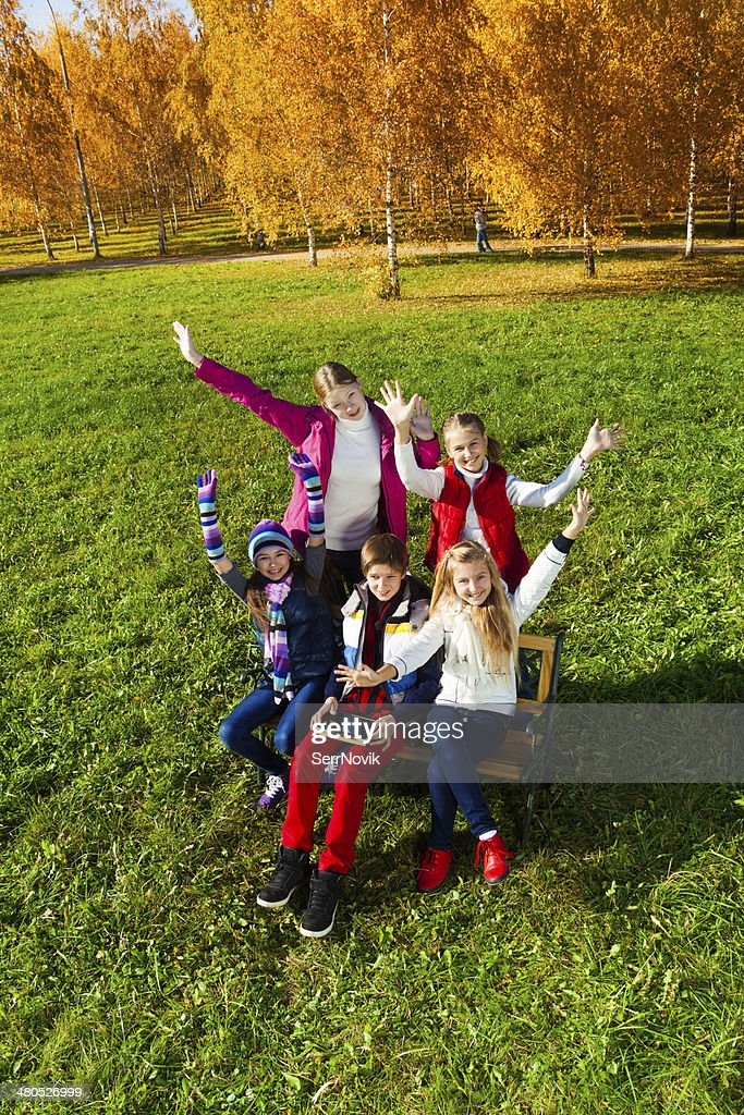 Very happy kids outside : Stock Photo