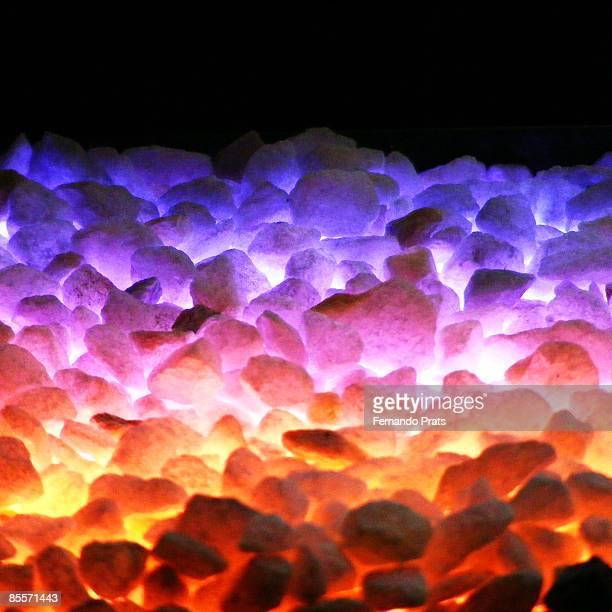 Very hot burning stones