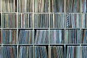 Very large Record rack, collection. Collection of vinyl records on shelves