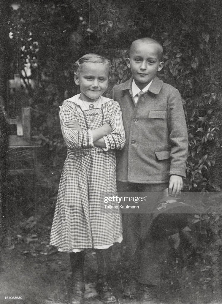 Very old Photograph of two Children : Stock Photo