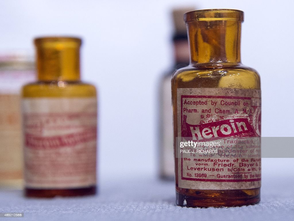 Very old real Heroin bottle is on display at the Drug Enforcement Agency Museum in Arlington Virginia on August 25 2015 The free museum is located...