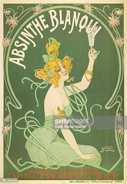 A very rare poster for Absinthe Blanqui designed and printed by Revon a quintessential artnouveau image heavily influenced by the then fashionable...