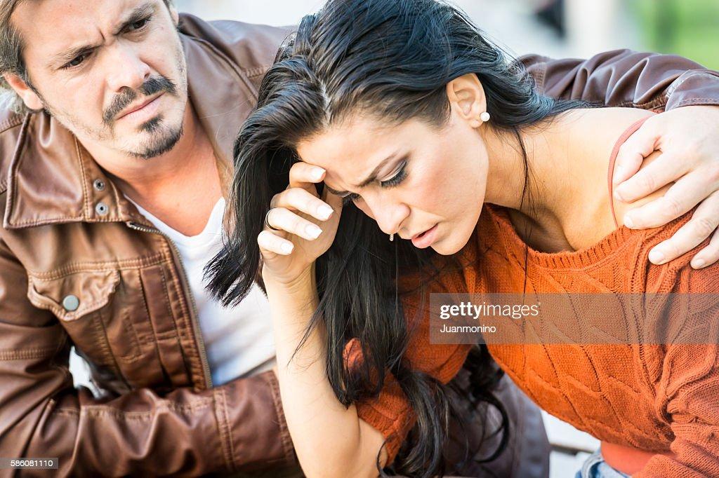 Very sad young couple : Stock Photo