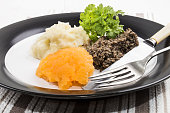 typical scottish meal on burns night, haggis, swede and mashed potato on a plate