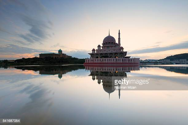 A very serene morning and beautiful reflection of a mosque.