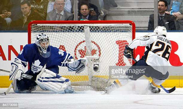 Vesa Toskala of the Toronto Maple Leafs makes a save against Steve Sullivan of the Nahville Predators during their NHL game at the Air Canada Centre...