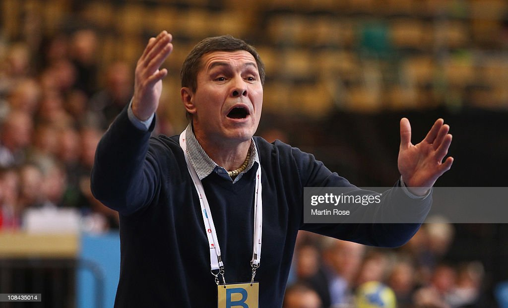 Veselin Vukovic, head coach of Serbia gestures during the Men's Handball World Championship placement match between Norway and Serbia at Kristianstad Arena on January 27, 2011 in Kristianstad, Sweden.