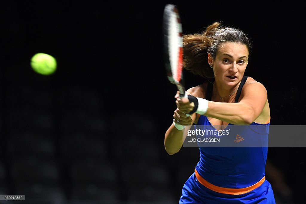 <a gi-track='captionPersonalityLinkClicked' href=/galleries/search?phrase=Vesna+Dolonc&family=editorial&specificpeople=4872668 ng-click='$event.stopPropagation()'>Vesna Dolonc</a> of Serbia plays a shot during her match against Lourdes Dominguez Lino at the Antwerp Diamond Games tennis tournament in Antwerp on February 7, 2015.