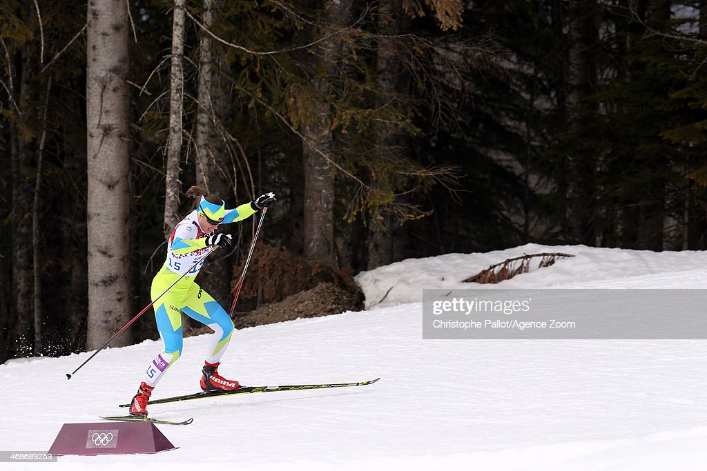 <a gi-track='captionPersonalityLinkClicked' href=/galleries/search?phrase=Vesna+Fabjan&family=editorial&specificpeople=817752 ng-click='$event.stopPropagation()'>Vesna Fabjan</a> of Slovenia wins the bronze medal during the Cross-Country Men's & Women's Sprint at the Laura Cross-country Ski & Biathlon Center on February 11, 2014 in Sochi, Russia.