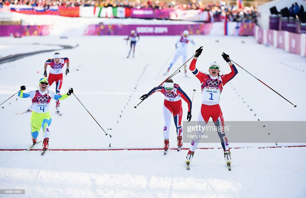 <a gi-track='captionPersonalityLinkClicked' href=/galleries/search?phrase=Vesna+Fabjan&family=editorial&specificpeople=817752 ng-click='$event.stopPropagation()'>Vesna Fabjan</a> of Slovenia wins third place, <a gi-track='captionPersonalityLinkClicked' href=/galleries/search?phrase=Ingvild+Flugstad+Oestberg&family=editorial&specificpeople=7427144 ng-click='$event.stopPropagation()'>Ingvild Flugstad Oestberg</a> of Norway wins second place and, <a gi-track='captionPersonalityLinkClicked' href=/galleries/search?phrase=Maiken+Caspersen+Falla&family=editorial&specificpeople=5646017 ng-click='$event.stopPropagation()'>Maiken Caspersen Falla</a> of Norway wins first place in the Finals of the Ladies' Sprint Free during day four of the Sochi 2014 Winter Olympics at Laura Cross-country Ski & Biathlon Center on February 11, 2014 in Sochi, Russia.
