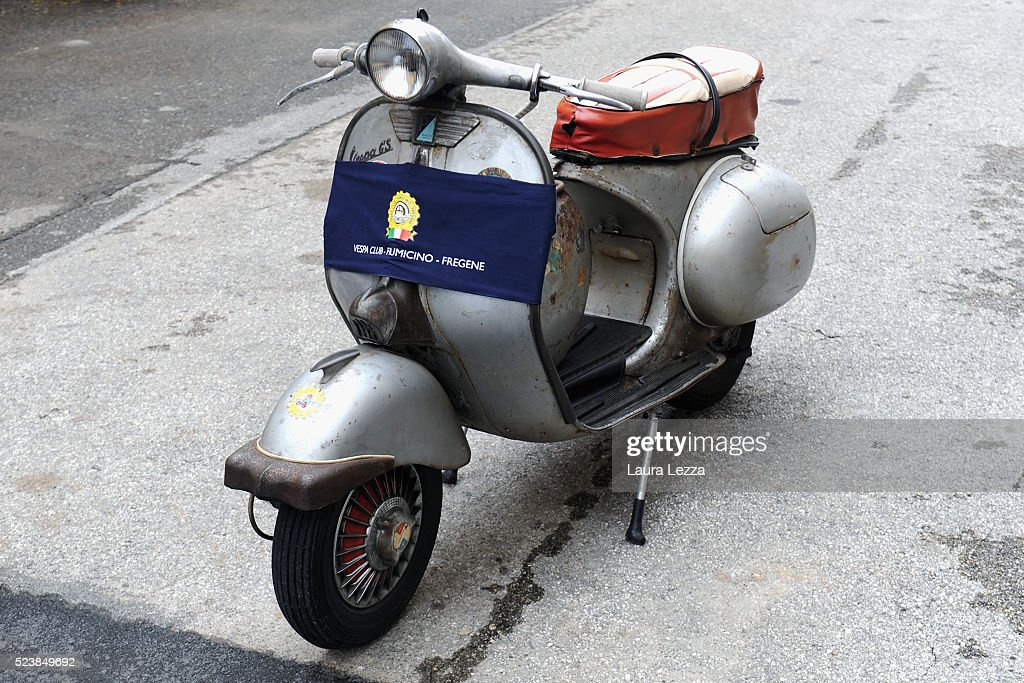 A Vespa dating back to 1955 is displayed during the exhibition for the celebration of 70 years of the Vespa scooter in the Piaggio museum on April 24, 2016 in Pontedera, Italy. Vespa was born on April 23, 1946 following the end of World War II and is considered the world's best-selling scooter and one of the brands of Italian excellence